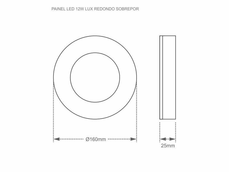 PAINEL LED 12W LUX REDONDO SOBREPOR 6500K
